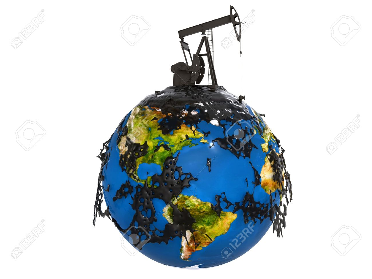 Pump Jack And Oil Spill Over Planet Earth Isolated On White 1300x975