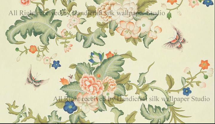 Chinoiserie Hand painted silk wallpaper Buy from Handicraft silk 721x416
