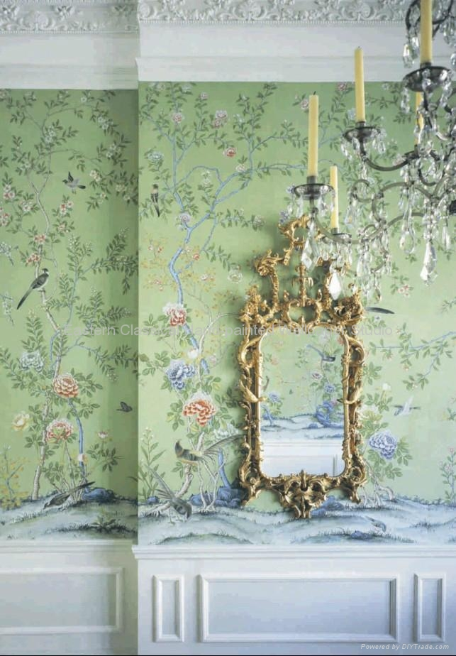 hand painted plum blossom wallpaper Chinese art paper wall coverings 643x924
