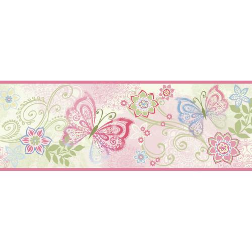 by Chesapeake Fantasia Boho Butterflies Scroll Animal Wallpaper Border 500x500