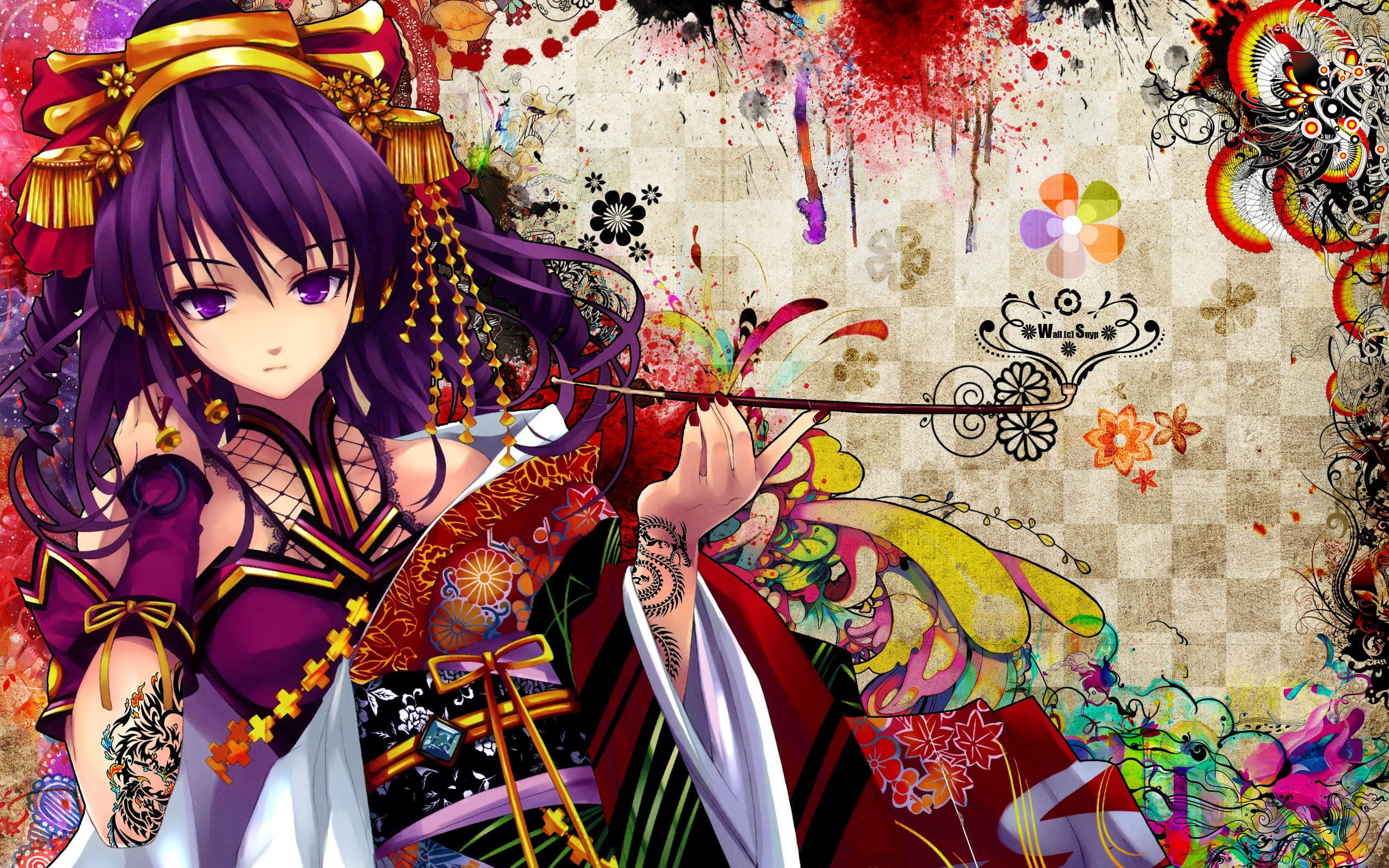 Female animation character holding smoking pipe digital wallpaper 2560x1600