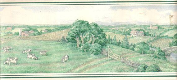 Vintage Wallpaper Border   Rural Scenic 570x259
