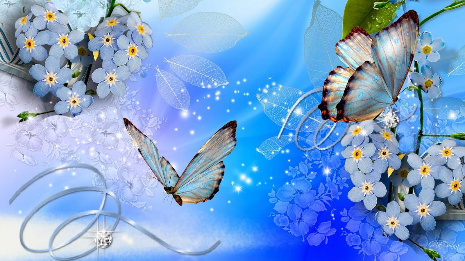 Blue butterflies blue flowers wallpaper download   beautiful desktop 1600x900