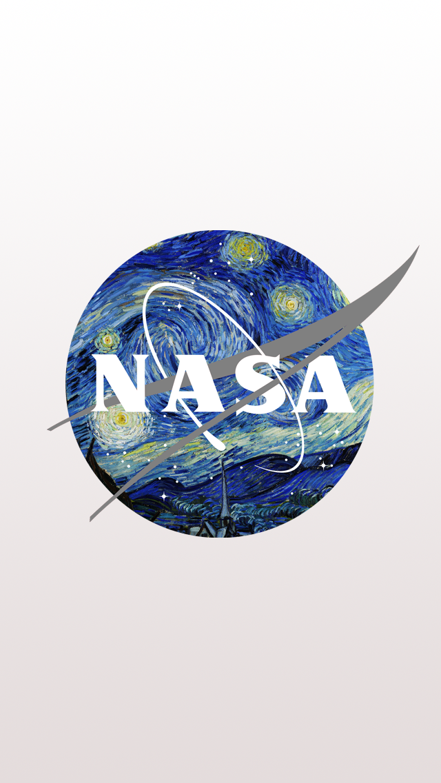 NASA Logo mixed with Starry Night by Van Gogh iPhone 5 Wallpaper 640x1136