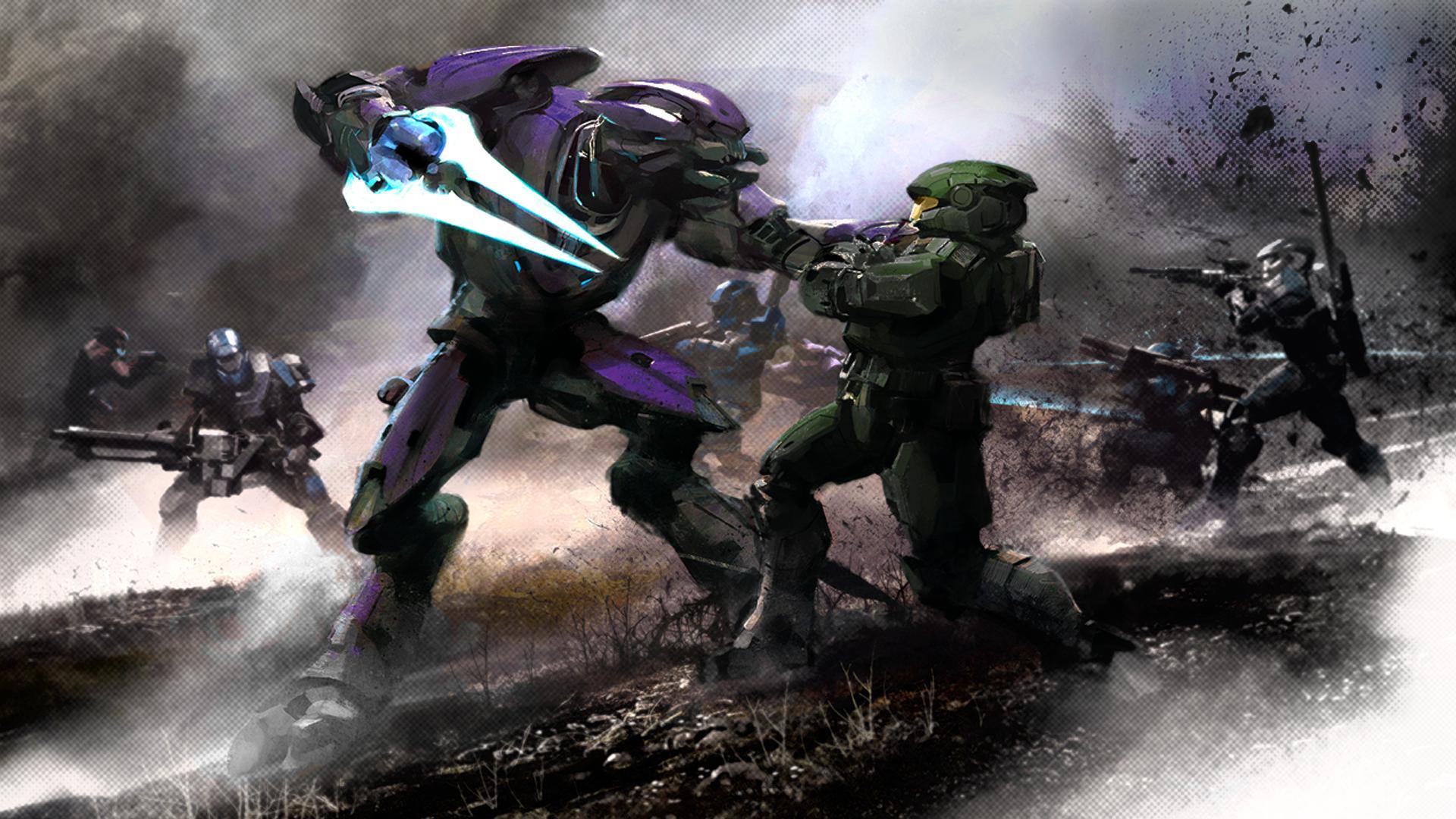 Halo Reach Elites Vs Spartans HD Wallpaper Background Images 1920x1080