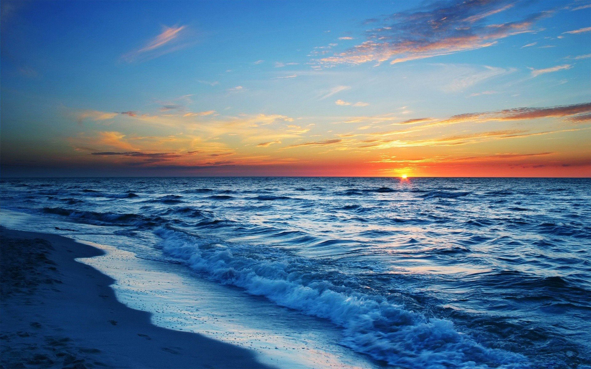 Sunset ocean beach sea waves wallpaper background 1920x1200
