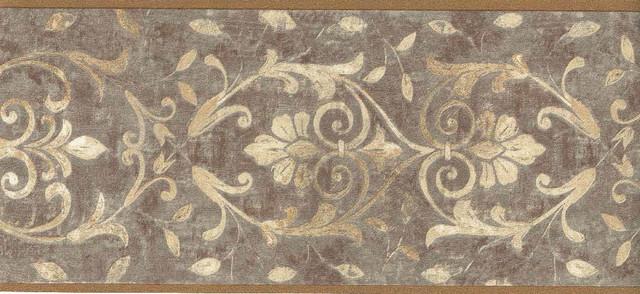 Dark Gold Moulding Design Wallpaper Border   Traditional   Wallpaper 640x294