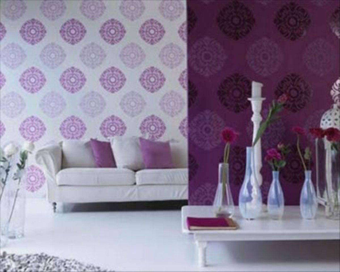 Purple Living Room Decorating Ideas With Fl Wallpapers