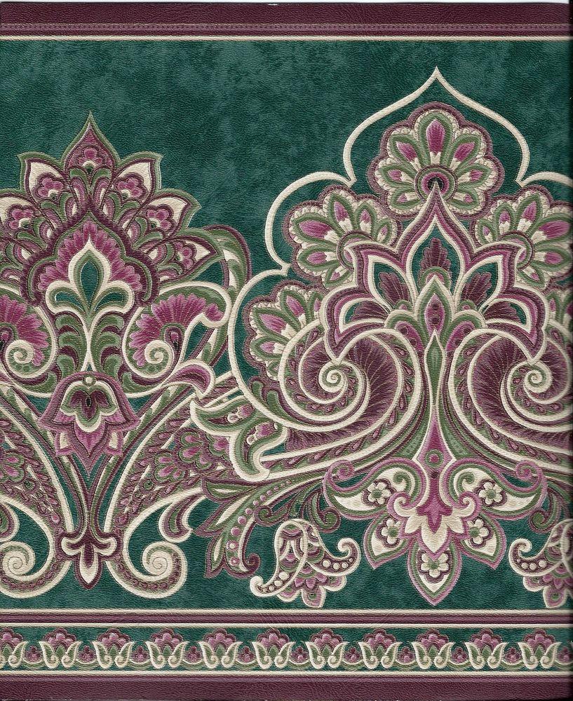 Victorian Paisley Green and Burgundy Wallpaper Border eBay 817x1000