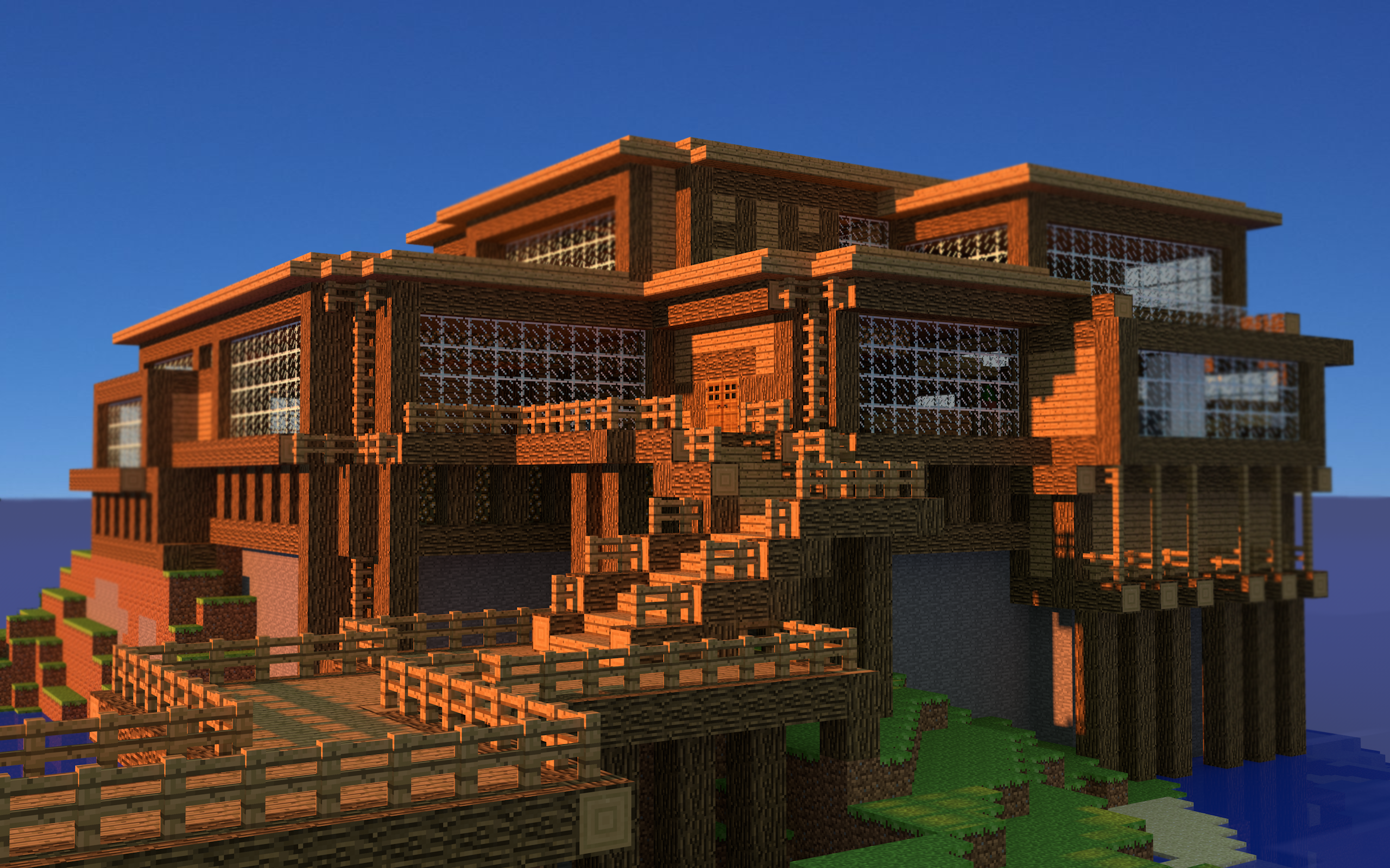 Minecraft Beach House Wallpaper 2560x1600