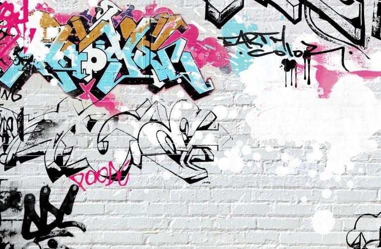White Wall Graffiti Wallpaper Wall Mural MuralsWallpapercouk 764x500
