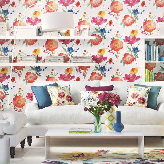 floral and white living room Living room decoration Ideal Home 550x550
