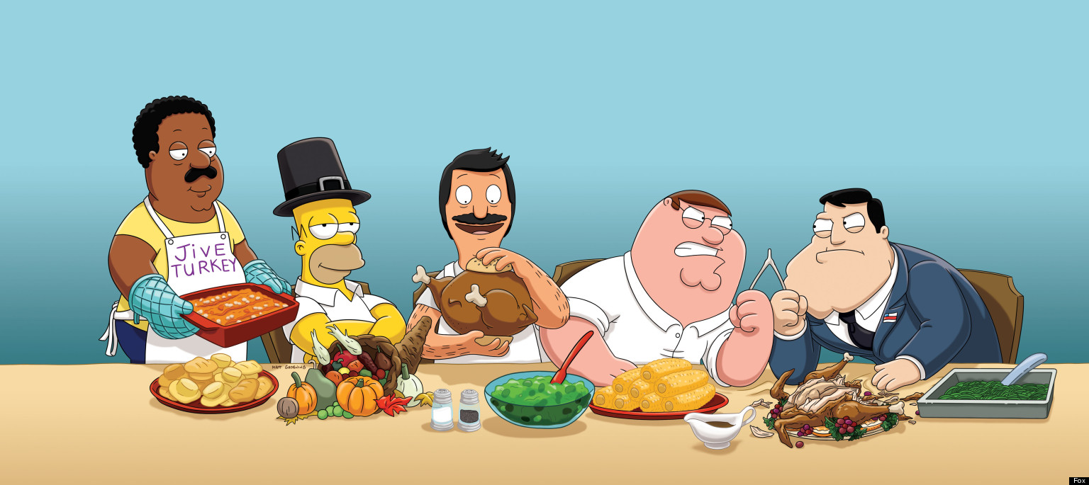 Thanksgiving TV 2012 Homer Simpson Peter Griffin And Foxs Animated 1536x685