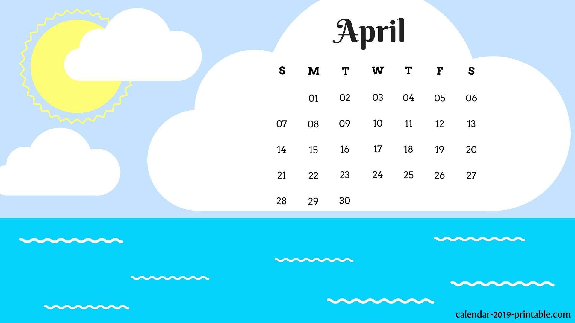 april 2019 calendar wallpaper Calendar 2019 Wallpapers 1920x1080