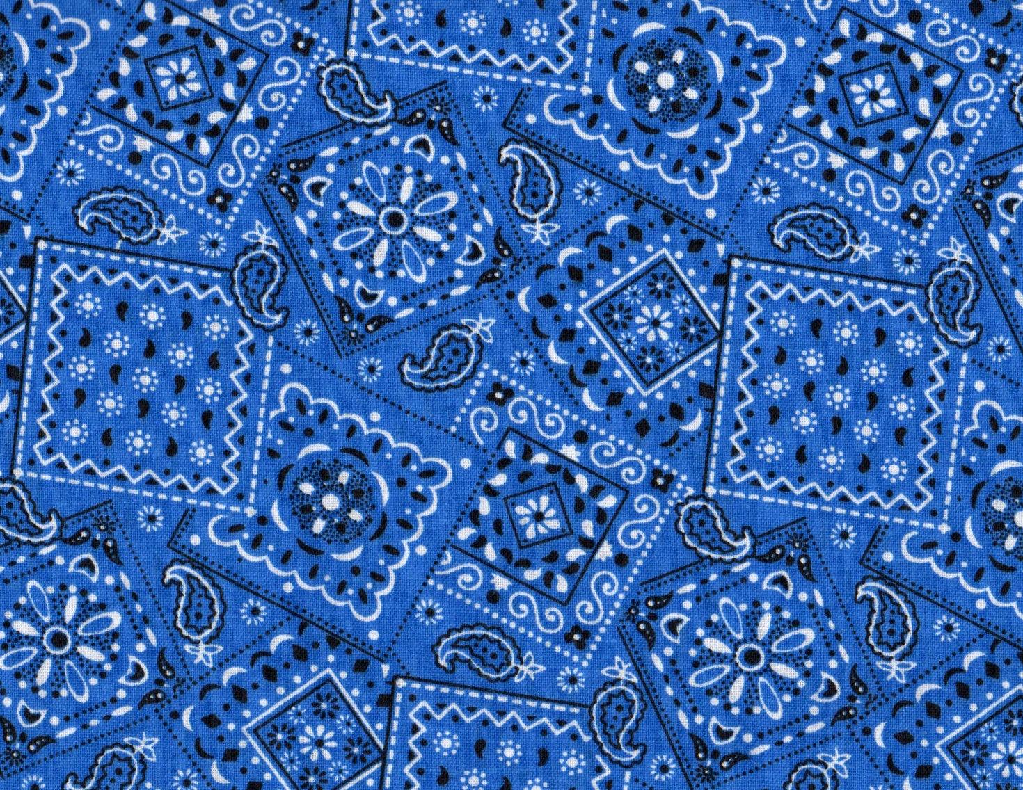 Blue Bandana Fabric Blue Fabric Bandana by thebusybeequilting 1470x1136