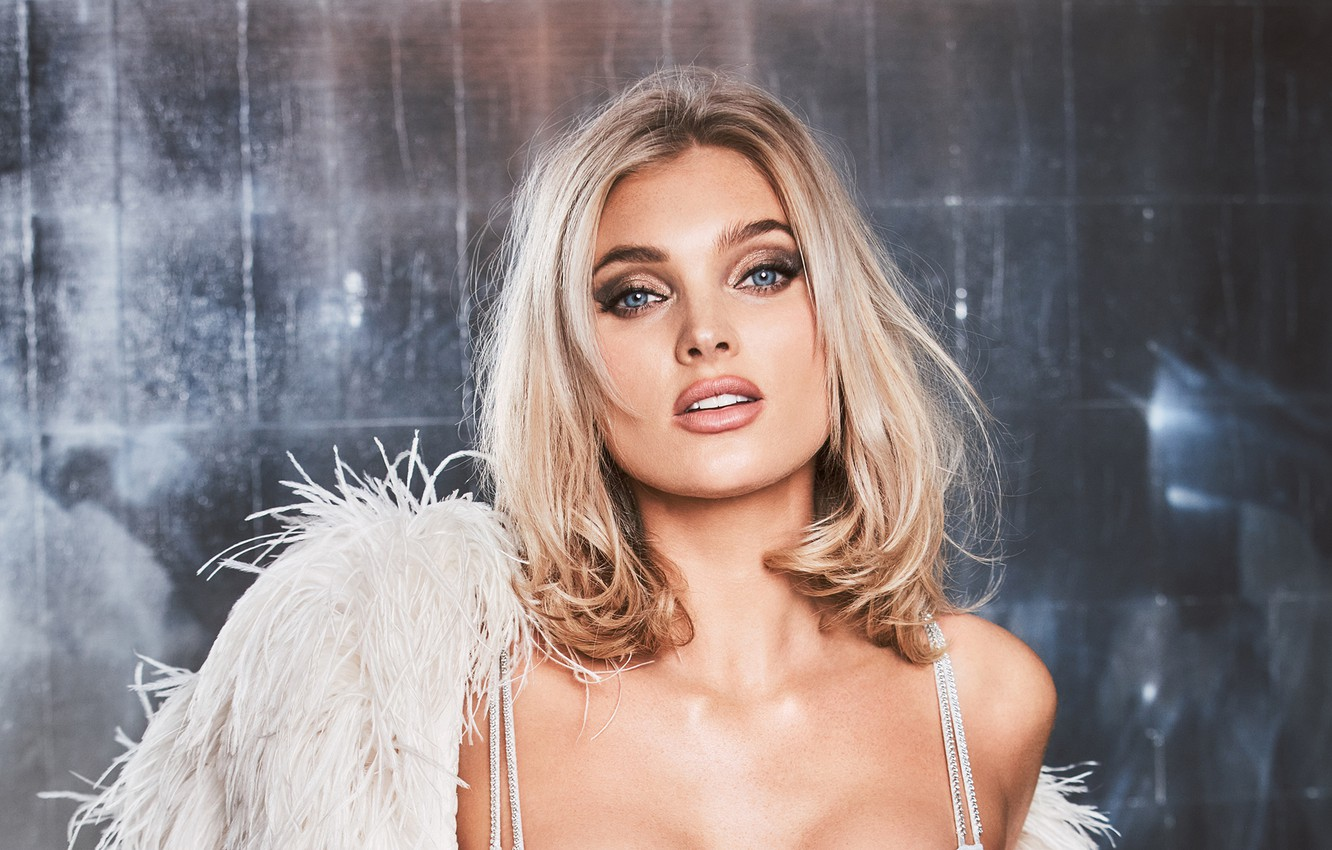 Wallpaper look girl face feathers makeup Elsa Hosk images for 1332x850