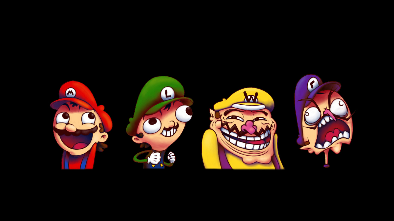 Mario Meme Wallpaper 1366x768 Mario Meme Luigi Wario Waluigi 1366x768