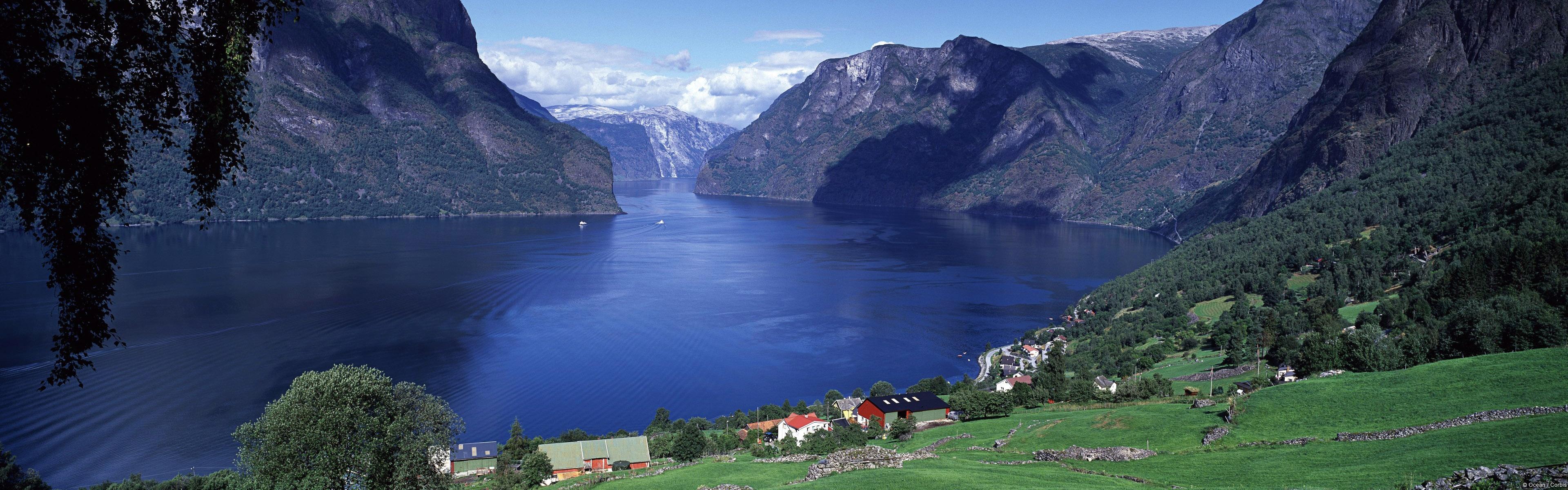 Aurlandsfjord Norway Wallpapers HD Wallpapers 3840x1200
