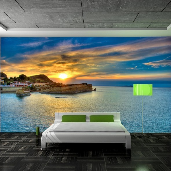 Outlet sea views large mural bedroom TV sofa background wallpaper 591x593