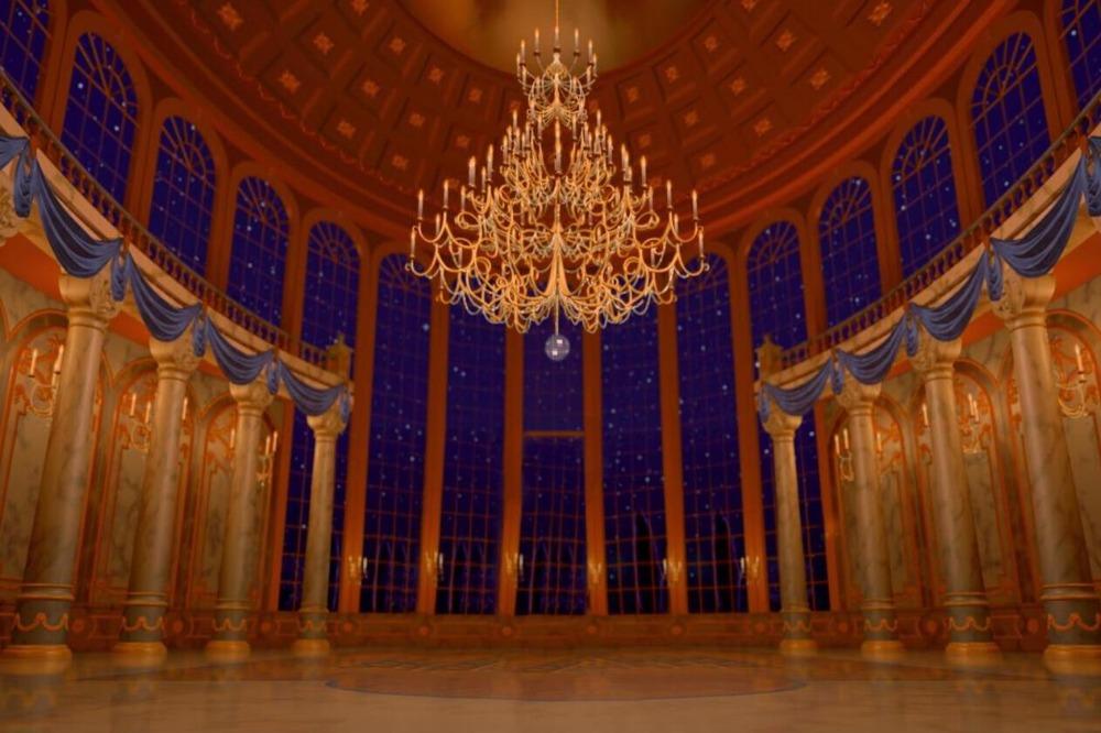 7x5FT Beauty Beast Ballroom Columns Window Blue Night Sky Custom 1000x666