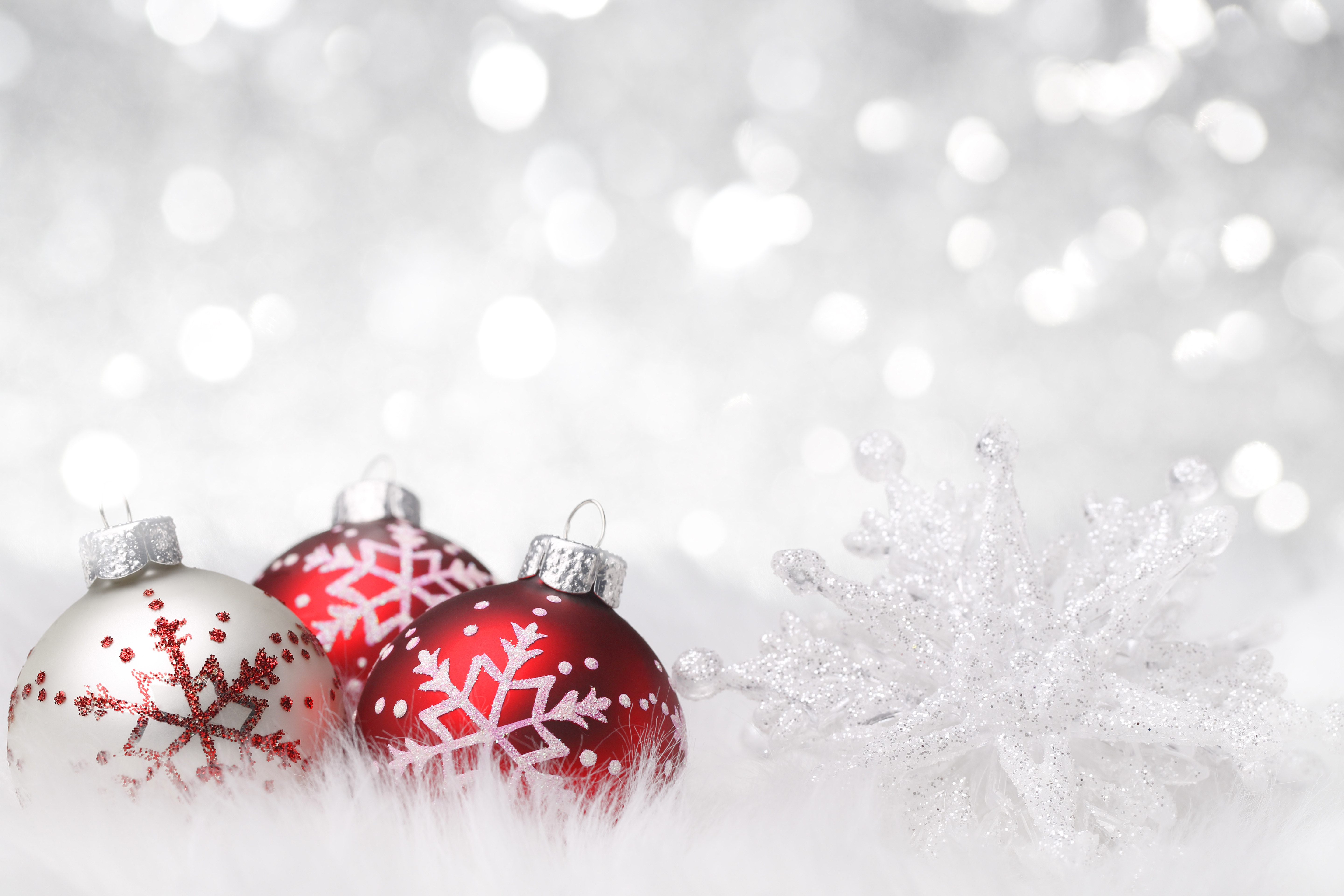 Christmas Background with Snowflake and Christmas Balls Gallery 5760x3840