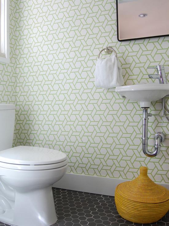 modern powder room modern faucet manuel canovas wallpaper trellis 550x734