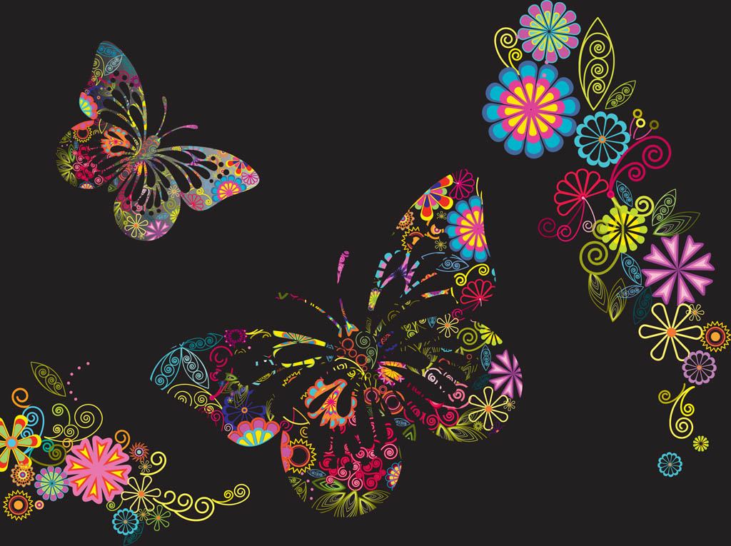 Flowers And Butterflies Background 1024x765