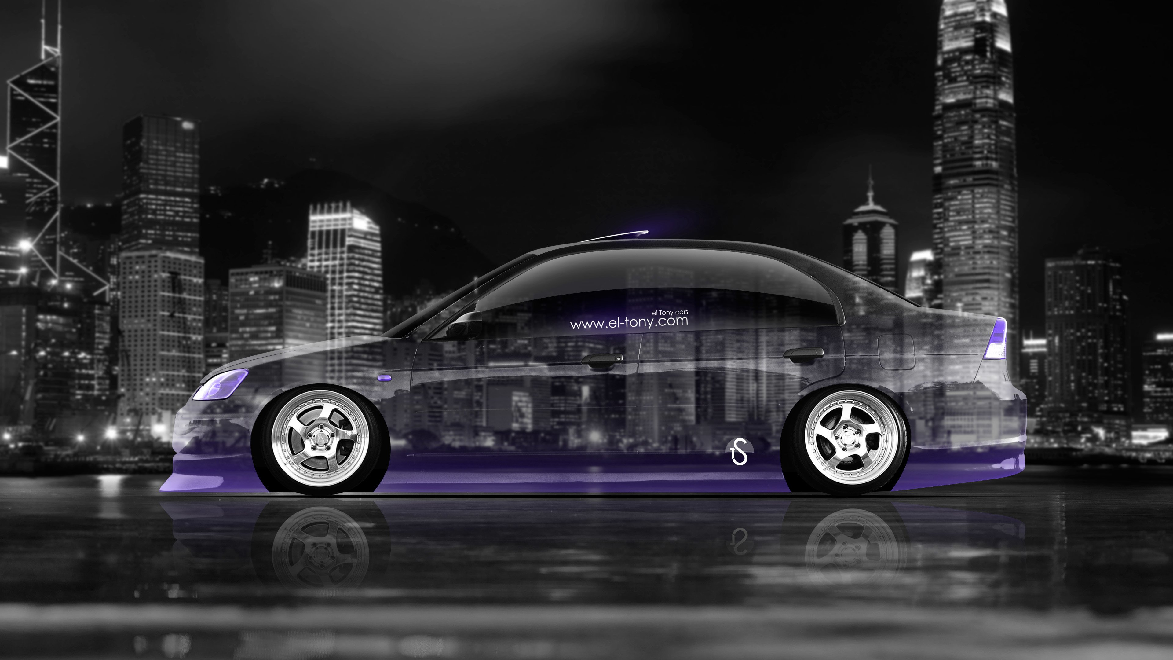 Jdm Crystal City Car Violet Neon 4k Wallpapers Style Download 3840x2160