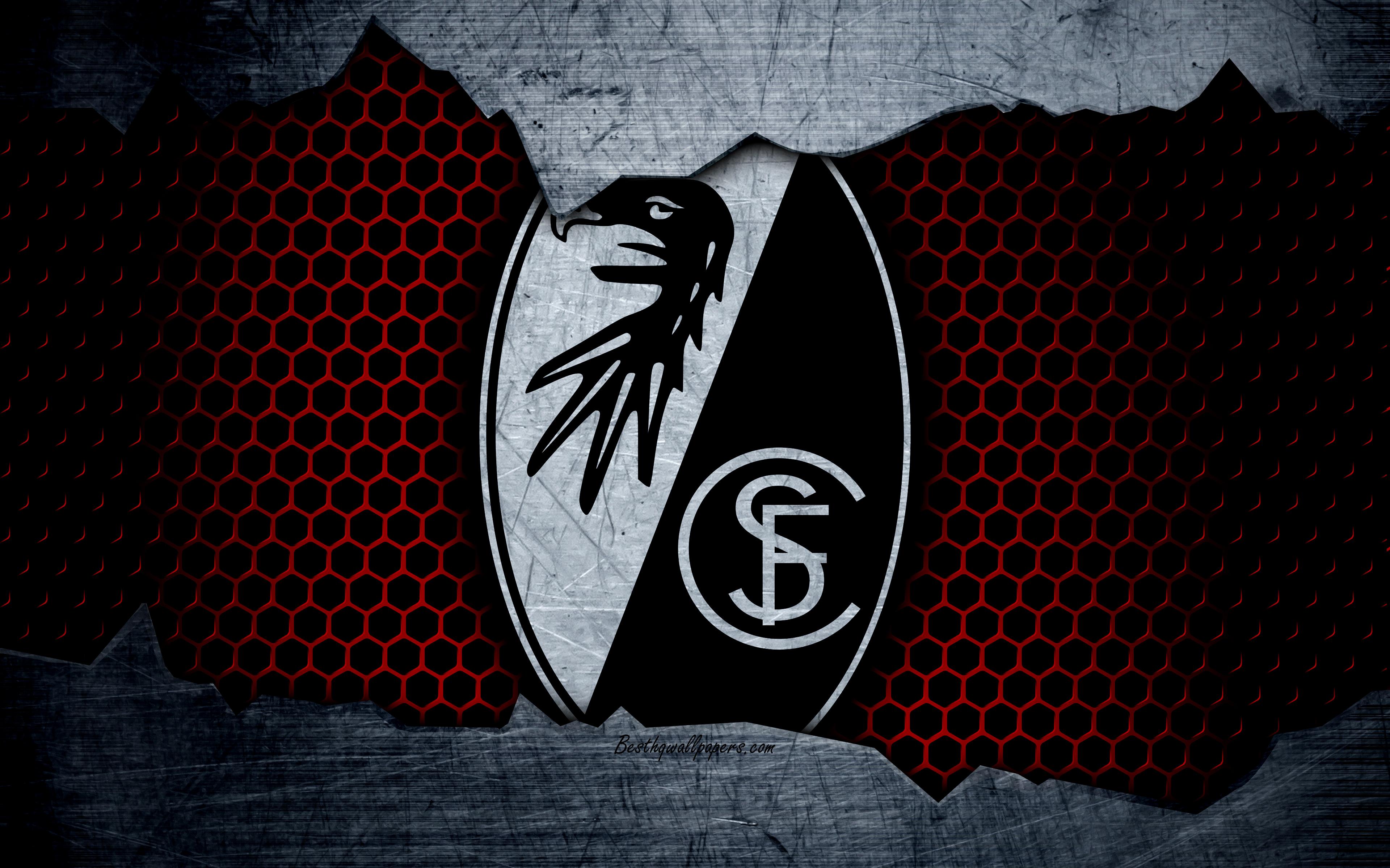 Download wallpapers Freiburg 4k logo Bundesliga metal texture 3840x2400