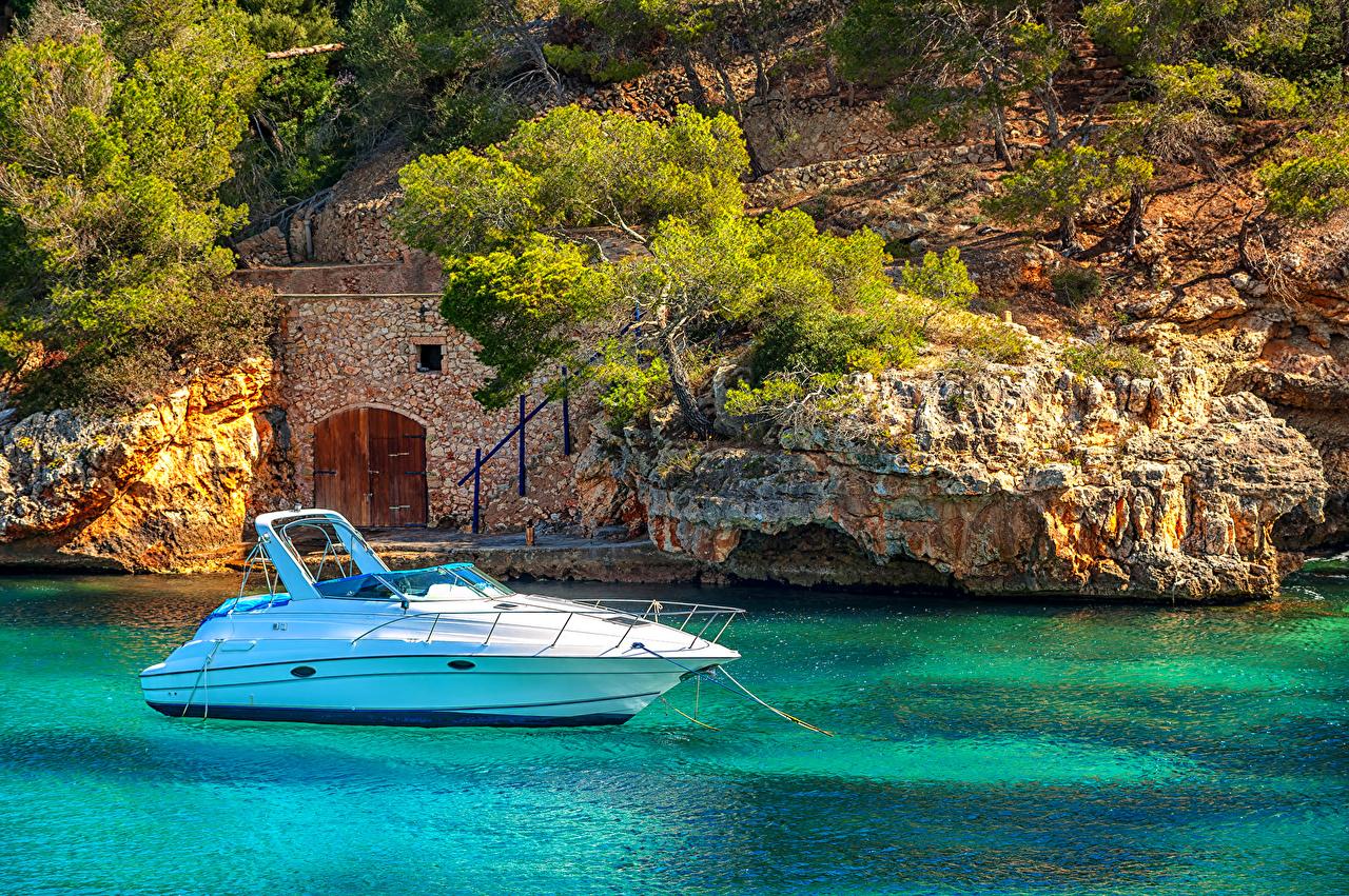 Photo Majorca Mallorca Spain Mediterranean sea Sea Crag Nature Yacht 1280x851