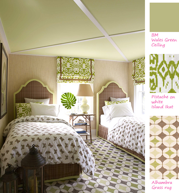 grasscloth wallpaper wallcovering bedroom with green island ikat 610x658