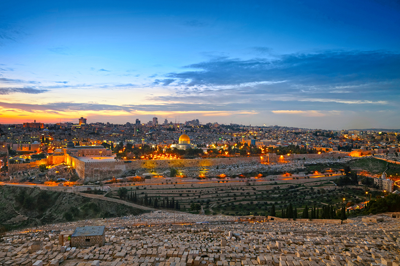 Wallpapers Israel Jerusalem HDRI Sky night time Cities Building 1280x853