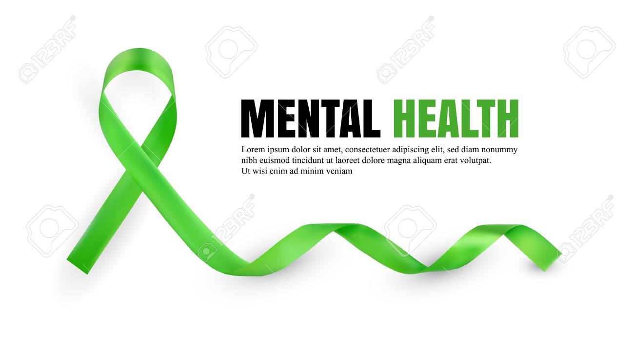 Green Mental Health Awareness Symbolic Satin Ribbon Isolated 1300x693