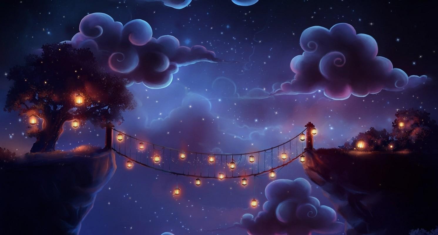 Night Time Bridge Lanterns Wallpaper download   Download 1491x800