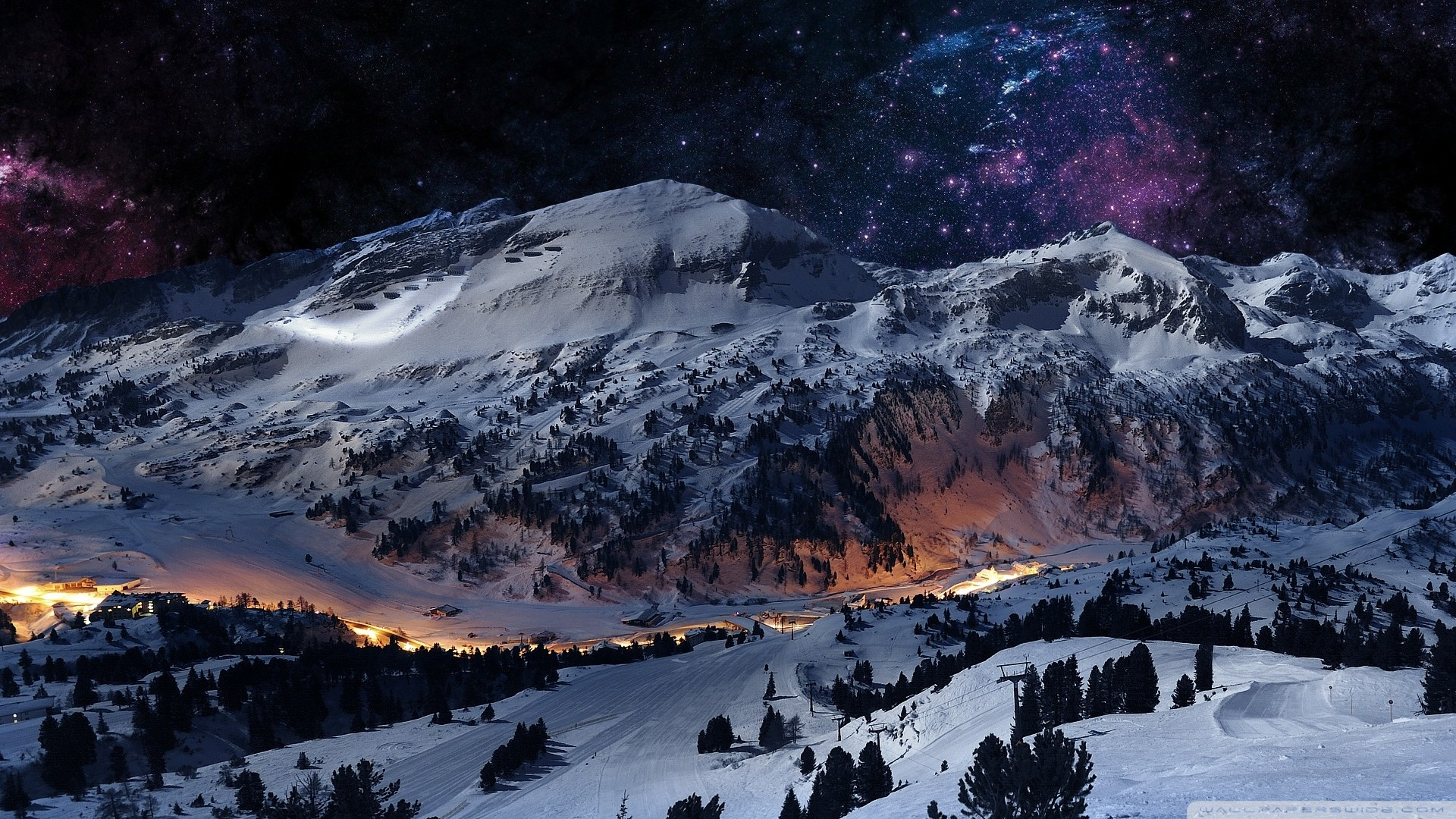 Night sky snow [Wallpaper] Reviews news tips and tricks 1920x1080
