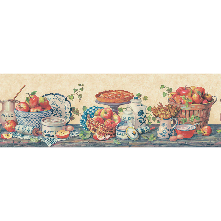 Blue And Red Baked Apple Prepasted Wallpaper Border at Lowescom 900x900