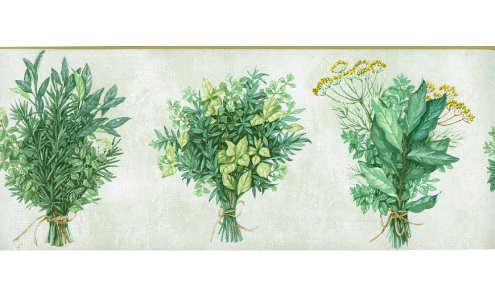 Home White Green Bunch plant Wallpaper Border 1000x600