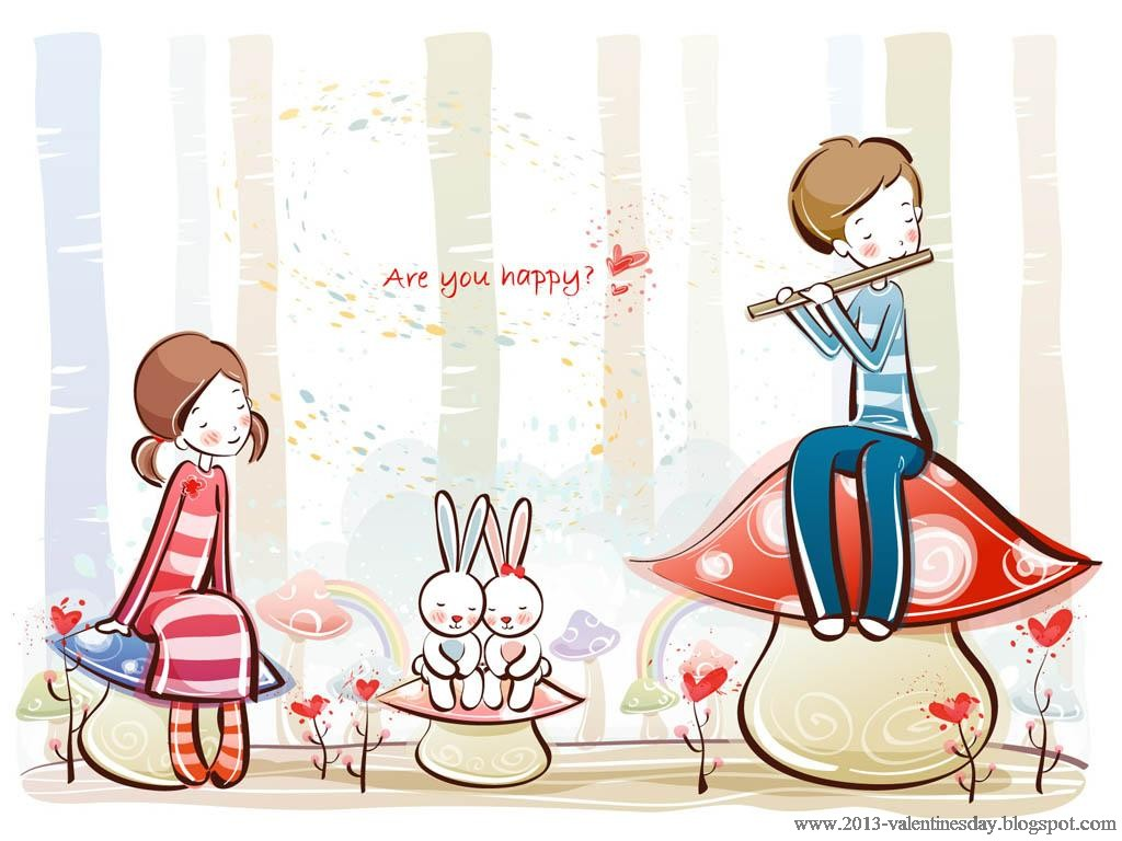 Cute Cartoon Love Couple Wallpaper Cute And Sweet Cartoon Couple 1024x768