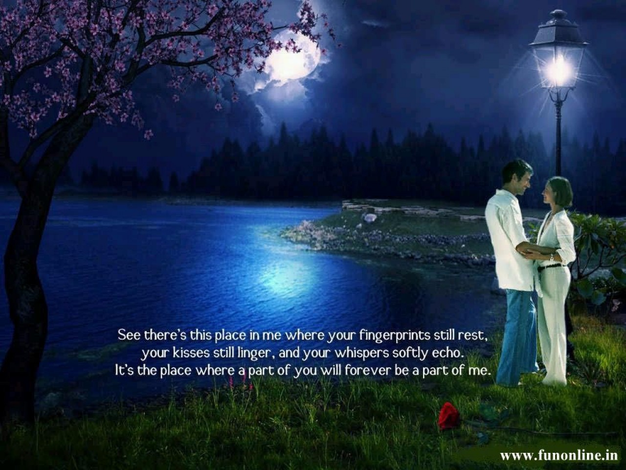 Download Night View Of Love Couple Standing Near River By