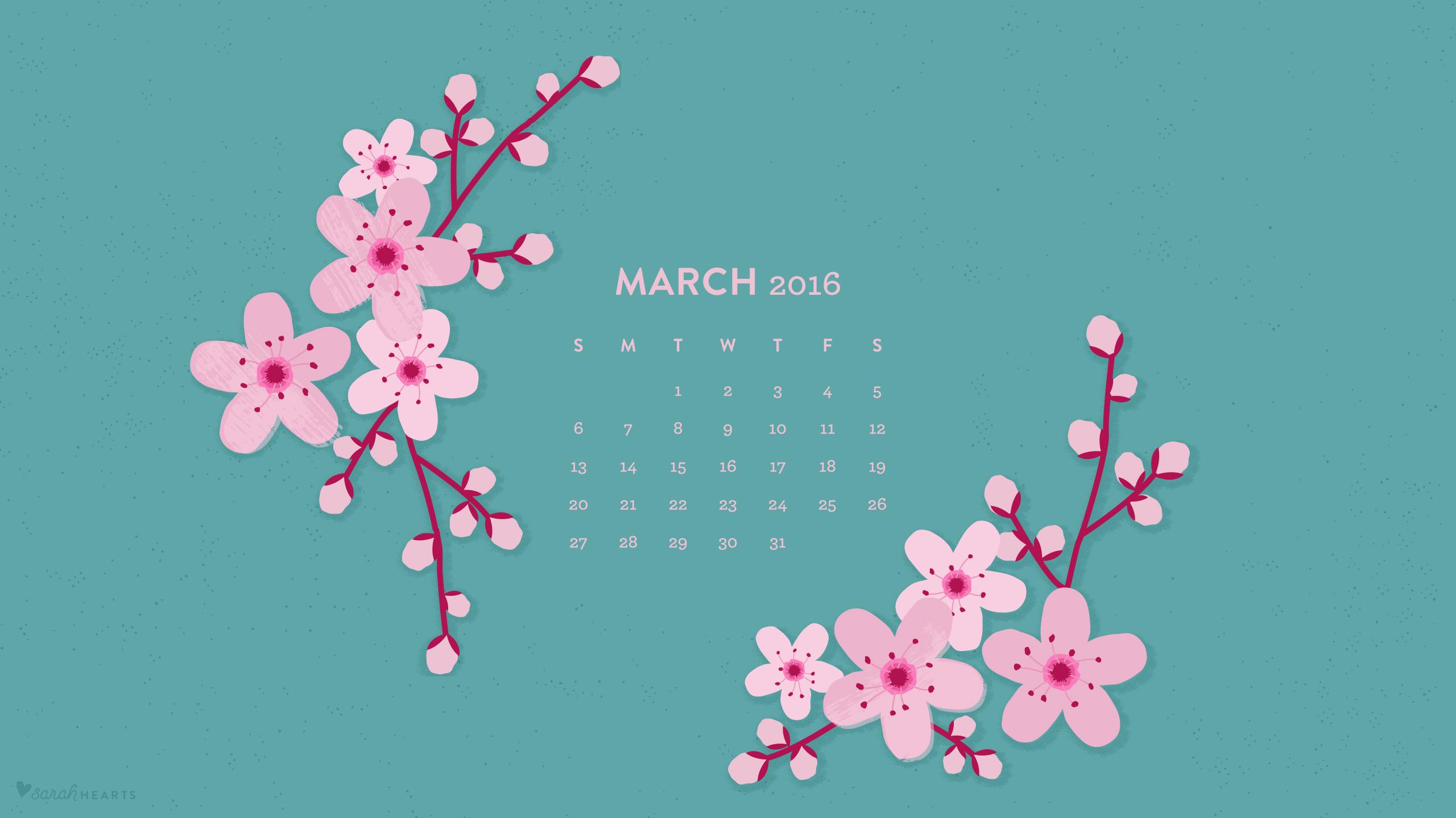 March 2016 Cherry Blossom Calendar Wallpaper   Sarah Hearts 2560x1440