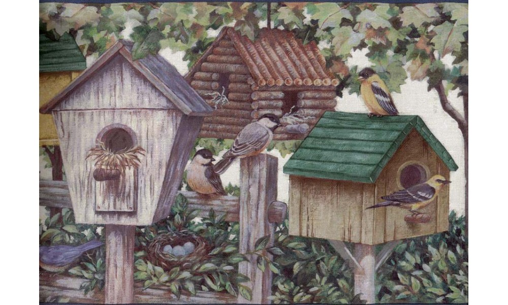 Home Brown Green Bird Houses Wallpaper Border 1000x600