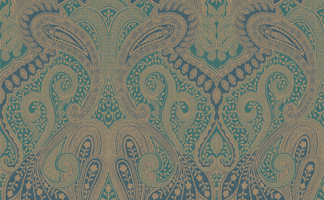 Morocco Paisley Wallpaper In Blues Greens And Metallic Design By 650x403