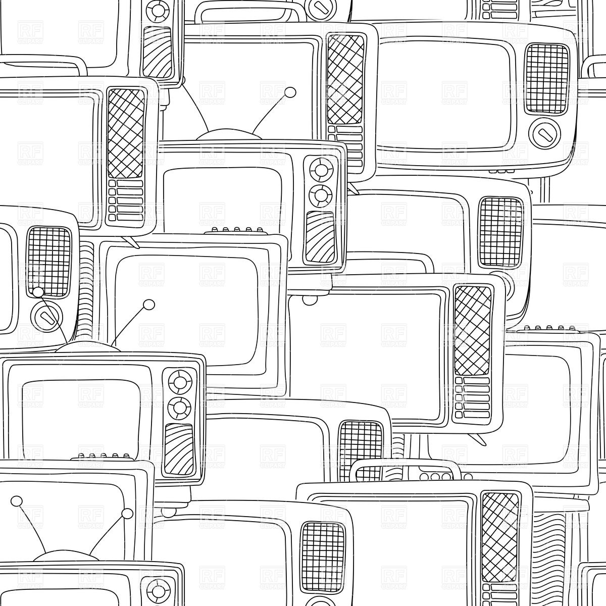 wallpaper with television sets in black and white Backgrounds 1200x1200