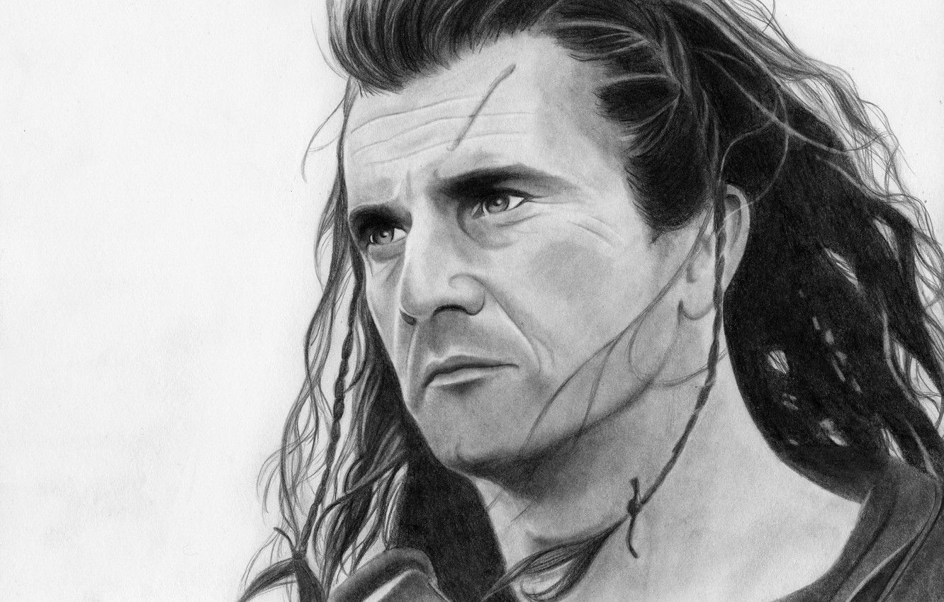 Wallpaper face figure hero Mel Gibson Brave heart images for 1332x850