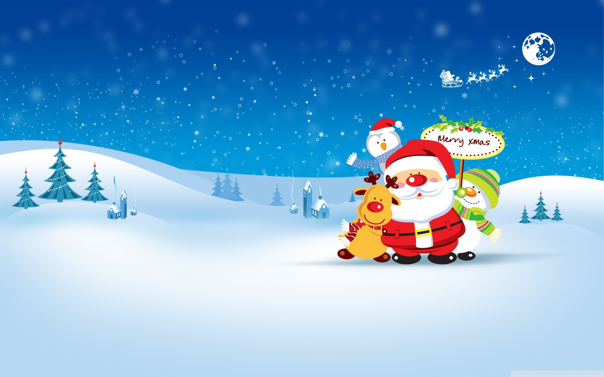 HO HO HO Merry Christmas computer desktop wallpaper 1920x1200