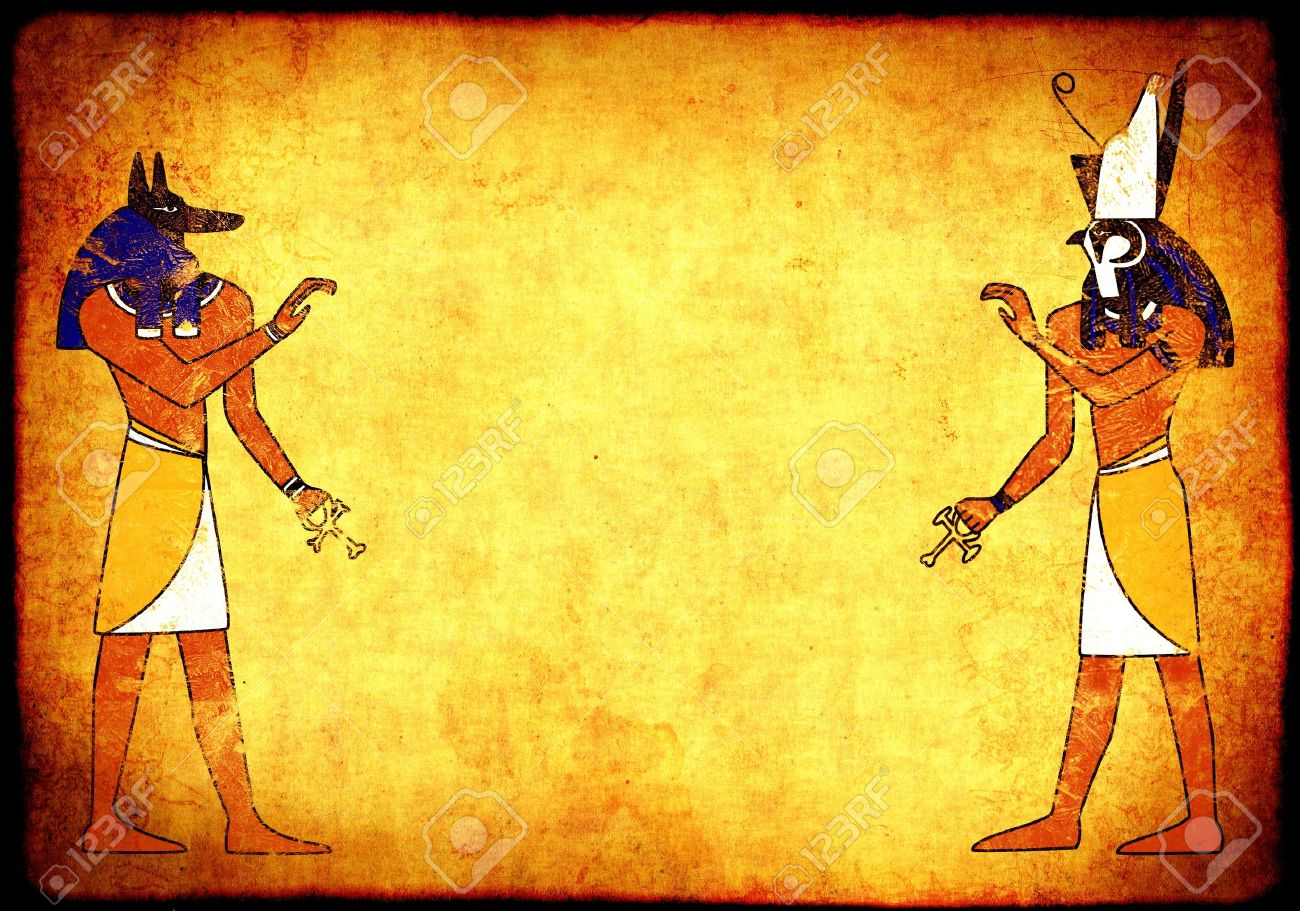 Background With Egyptian Gods Images   Anubis And Horus Stock 1300x911