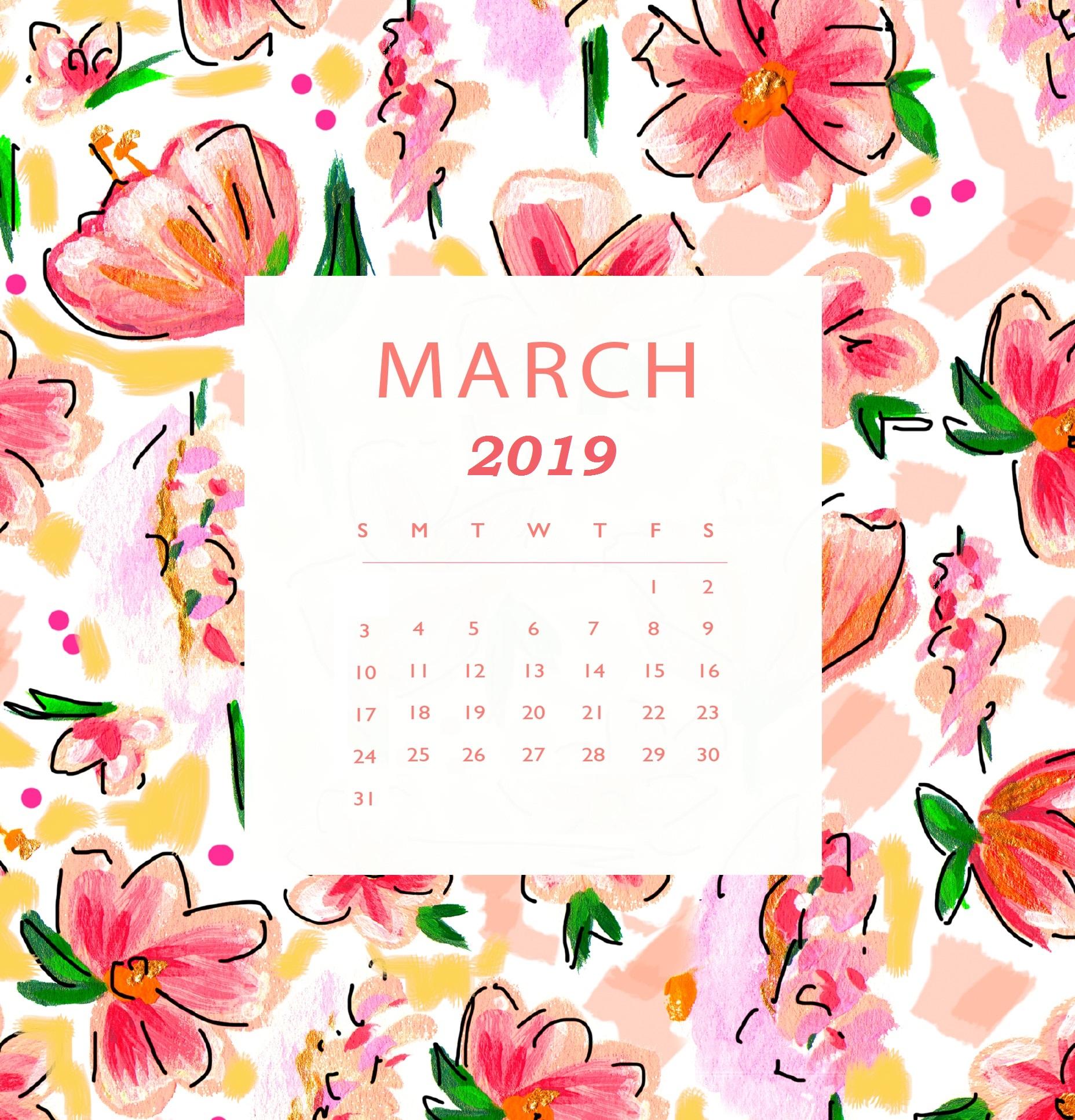 March 2019 HD Calendar Wallpaper   Printable Calendar 1856x1933