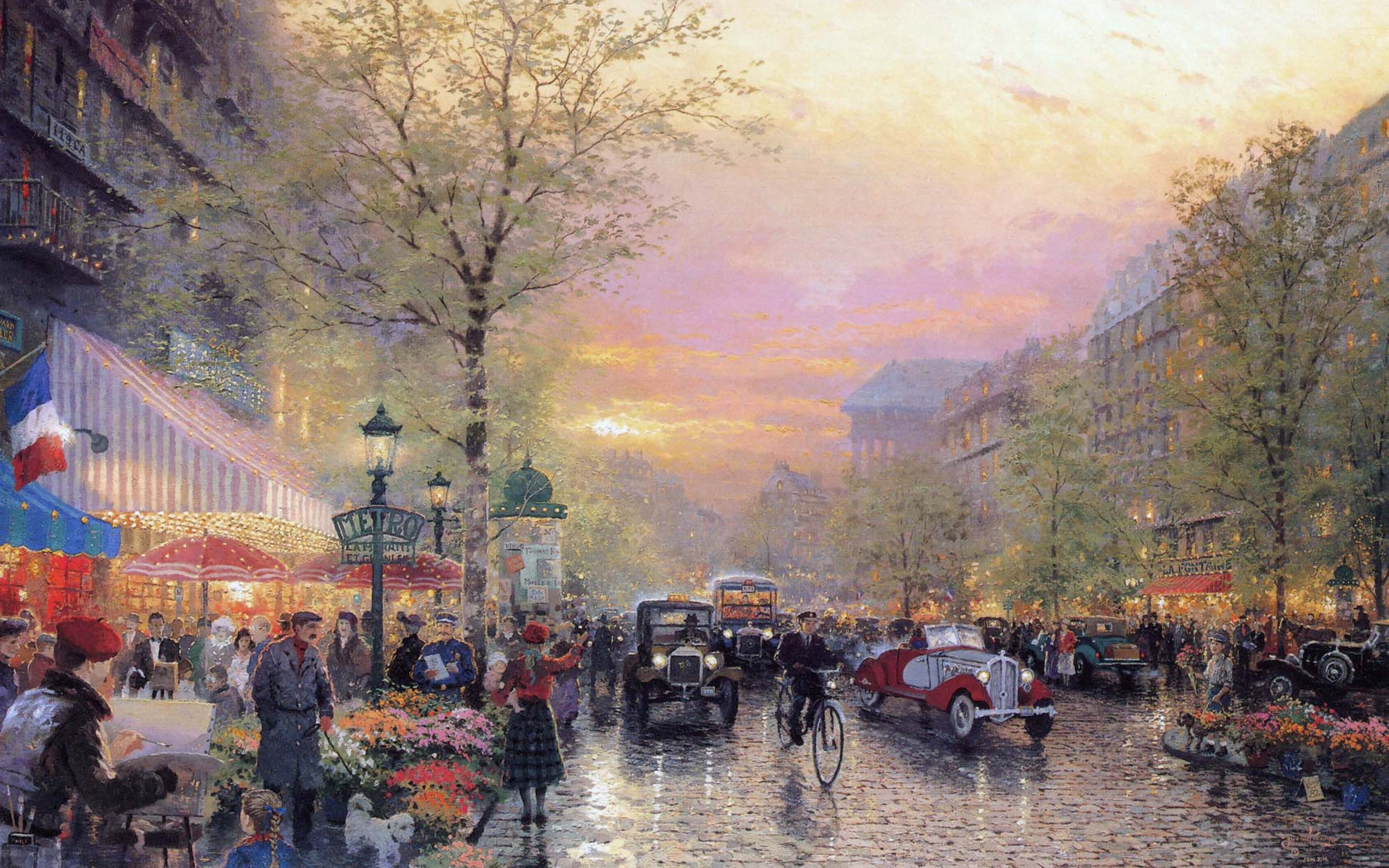 des lumieres at dusk thomas kinkade art painting france wallpaper 2560x1600
