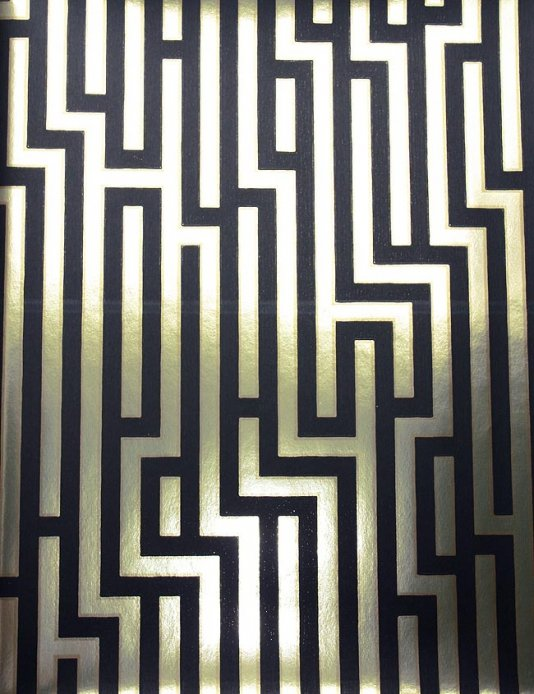 Free Download Fretwork Wallpaper Black And Gold Metallic
