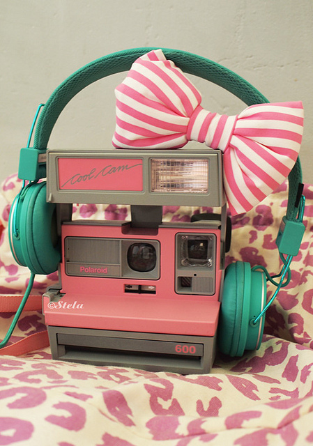 bow camera cute pink polaroid   image 447451 on Favimcom 449x640